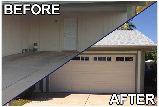 carport conversion Phoenix- before and after