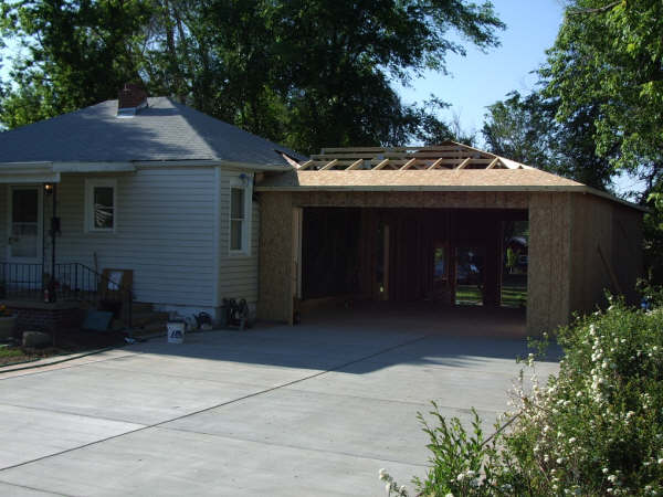 Here is an attached garage under construction.