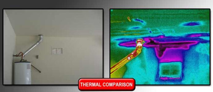 water leak found in ceiling using infrared (IR) camera during an insurance claim inspection